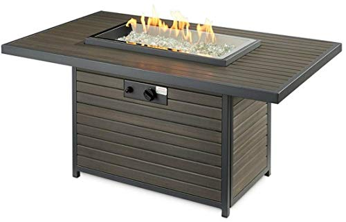 The Outdoor GreatRoom Company BRK 1224 K Brooks 12x24 Inch Elevated Top Rectangular Gas Fire Pit Table Grey Glass Burner Cover 55000 BTU Power Heat 0