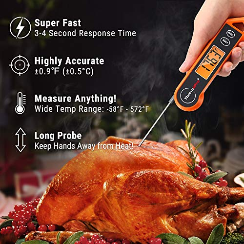 ThermoPro Digital Instant Read Meat Thermometer for Grilling Waterproof Kitchen Cooking Food Thermometer with Ambidextrous Backlit for BBQ Grill Smoker Oil Fry Candy Thermometer 0 0