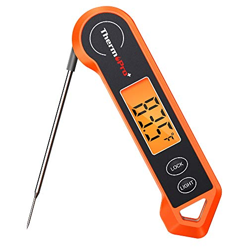 ThermoPro Digital Instant Read Meat Thermometer for Grilling Waterproof Kitchen Cooking Food Thermometer with Ambidextrous Backlit for BBQ Grill Smoker Oil Fry Candy Thermometer 0