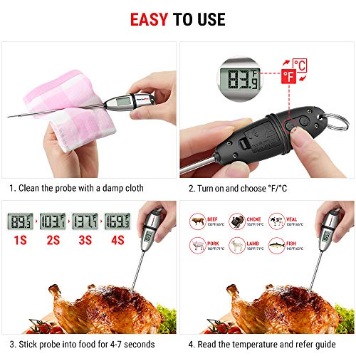 ThermoPro TP 02S Instant Read Meat Thermometer Digital Cooking Food Thermometer with Super Long Probe for Grill Candy Kitchen BBQ Smoker Oven Oil Milk Yogurt Temperature 0 1