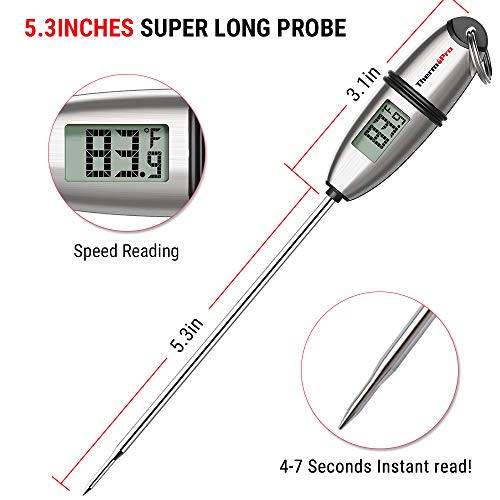 ThermoPro TP 02S Instant Read Meat Thermometer Digital Cooking Food Thermometer with Super Long Probe for Grill Candy Kitchen BBQ Smoker Oven Oil Milk Yogurt Temperature 0 2