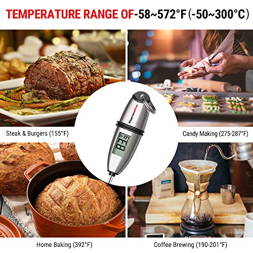 ThermoPro TP 02S Instant Read Meat Thermometer Digital Cooking Food Thermometer with Super Long Probe for Grill Candy Kitchen BBQ Smoker Oven Oil Milk Yogurt Temperature 0 4