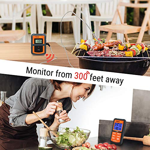 ThermoPro TP 07 Wireless BBQ Meat Thermometer for Grilling Smoker Oven Kitchen Turkey Remote Digital Cooking Food Grill Thermometer with Probe 300 Feet Range Smart LCD Backlit Screen 0 0