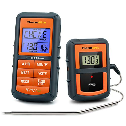 ThermoPro TP 07 Wireless BBQ Meat Thermometer for Grilling Smoker Oven Kitchen Turkey Remote Digital Cooking Food Grill Thermometer with Probe 300 Feet Range Smart LCD Backlit Screen 0