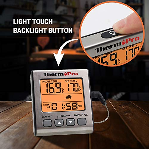 ThermoPro TP 16S Digital Meat Thermometer Smoker Candy Food BBQ Cooking Thermometer for Grilling Oven Deep Fry with Smart Kitchen Timer Mode and Backlight 0 0