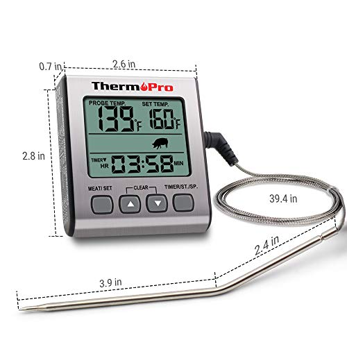 ThermoPro TP 16S Digital Meat Thermometer Smoker Candy Food BBQ Cooking Thermometer for Grilling Oven Deep Fry with Smart Kitchen Timer Mode and Backlight 0 4