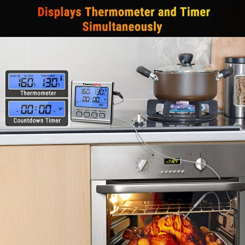 ThermoPro TP 17 Dual Probe Digital Cooking Meat Thermometer Large LCD Backlight Food Grill Thermometer with Timer Mode for Smoker Kitchen Oven BBQ Silver 0 4
