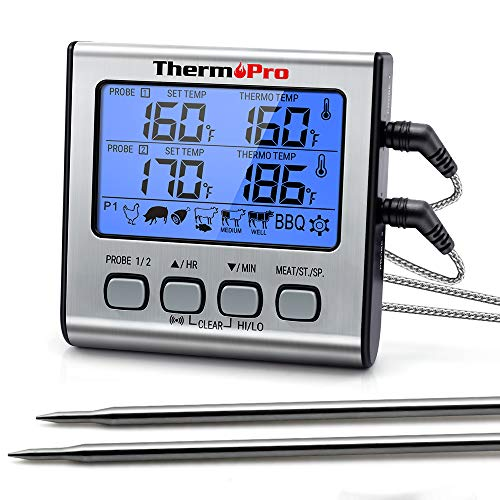 ThermoPro TP 17 Dual Probe Digital Cooking Meat Thermometer Large LCD Backlight Food Grill Thermometer with Timer Mode for Smoker Kitchen Oven BBQ Silver 0