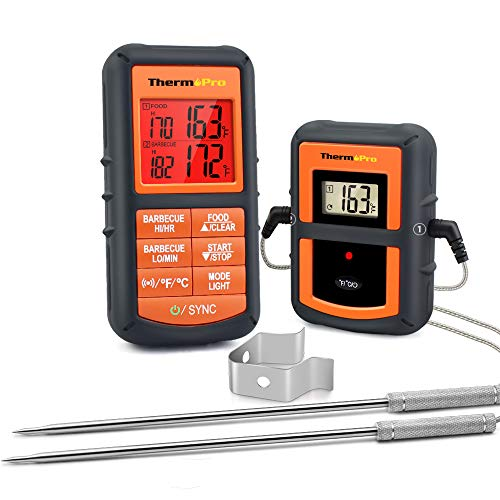 ThermoPro TP08S Wireless Digital Meat Thermometer for Grilling Smoker BBQ Grill Oven Thermometer with Dual Probe Kitchen Cooking Food Thermometer 0