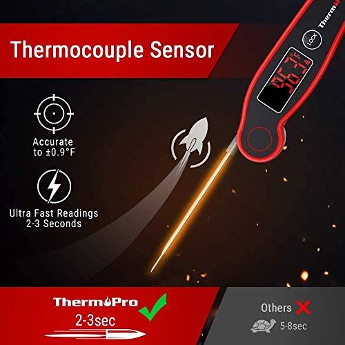 ThermoPro TP19 Waterproof Digital Meat Thermometer for Grilling with Ambidextrous Backlit Thermocouple Instant Read Thermometer Kitchen Cooking Food Thermometer for Candy Water Oil BBQ Grill Smoker 0 0