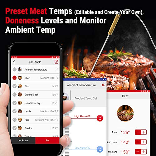 ThermoPro TP25 500ft Wireless Bluetooth Meat Thermometer with 4 Temperature Probes Smart Digital Cooking BBQ Thermometer for Grilling Oven Food Smoker Thermometer Rechargeable 0 0