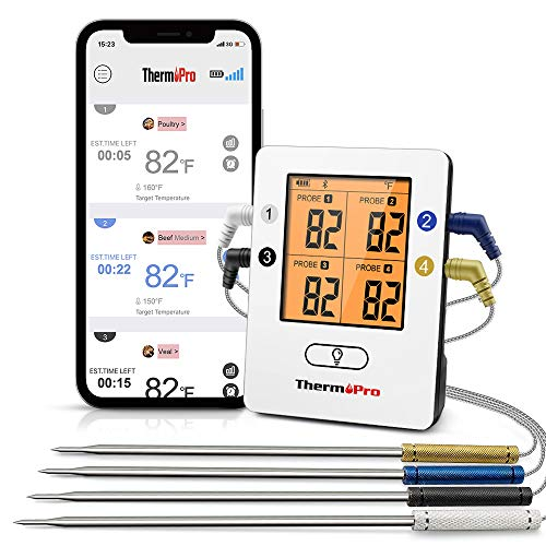 ThermoPro TP25 500ft Wireless Bluetooth Meat Thermometer with 4 Temperature Probes Smart Digital Cooking BBQ Thermometer for Grilling Oven Food Smoker Thermometer Rechargeable 0