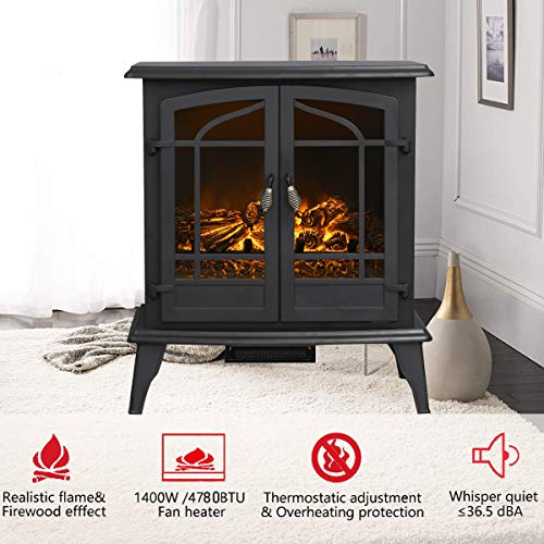 Top Space Electric Fireplace Stove Portable Freestanding Fireplace Realistic Flame and Logs Vintage Design Temperature Adjustable for Home and Office Indoor Black283H Black 0 0