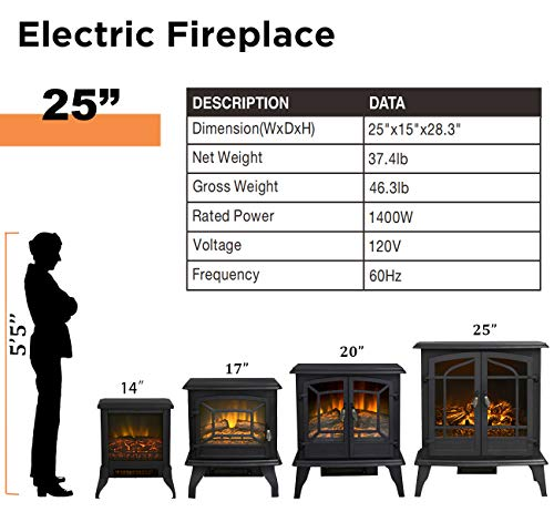 Top Space Electric Fireplace Stove Portable Freestanding Fireplace Realistic Flame and Logs Vintage Design Temperature Adjustable for Home and Office Indoor Black283H Black 0 2