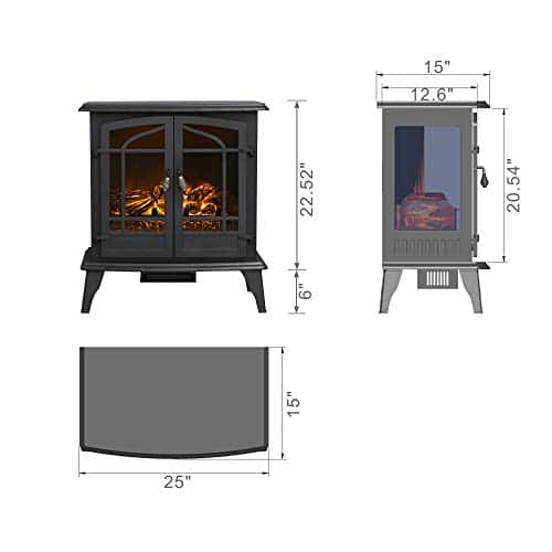 Top Space Electric Fireplace Stove Portable Freestanding Fireplace Realistic Flame and Logs Vintage Design Temperature Adjustable for Home and Office Indoor Black283H Black 0 4