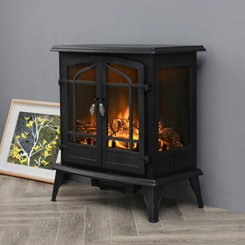 Top Space Electric Fireplace Stove Portable Freestanding Fireplace Realistic Flame and Logs Vintage Design Temperature Adjustable for Home and Office Indoor Black283H Black 0