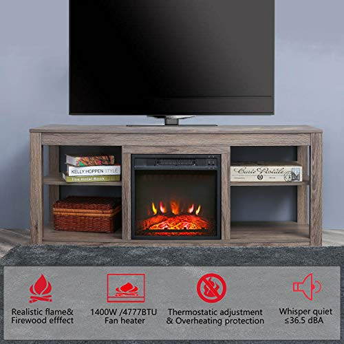Top Space Electric Fireplace TV Stand Entertainment Center Corner Electric Fireplace Console Fireplace Heater for TVs up to 70Wooden Electric Fireplace TV StandNatural 0 1