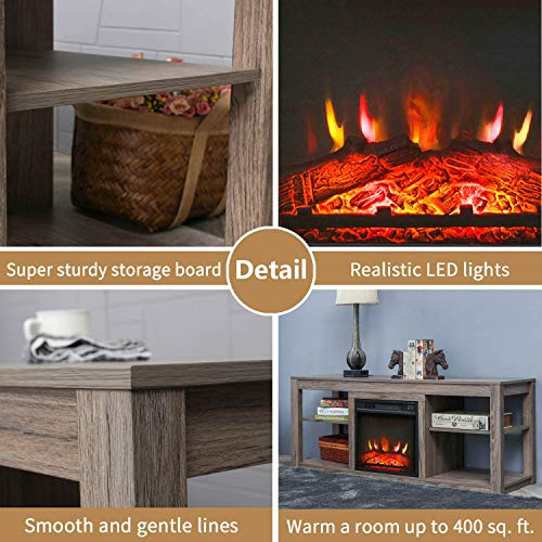 Top Space Electric Fireplace TV Stand Entertainment Center Corner Electric Fireplace Console Fireplace Heater for TVs up to 70Wooden Electric Fireplace TV StandNatural 0 2