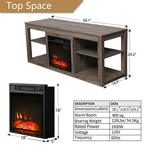 Top Space Electric Fireplace TV Stand Entertainment Center Corner Electric Fireplace Console Fireplace Heater for TVs up to 70Wooden Electric Fireplace TV StandNatural 0 5