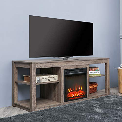 Top Space Electric Fireplace TV Stand Entertainment Center Corner Electric Fireplace Console Fireplace Heater for TVs up to 70Wooden Electric Fireplace TV StandNatural 0