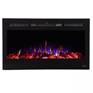 Touchstone 80014 Sideline Electric Fireplace 36 Inch Wide in Wall Recessed 5 Flame Settings Realistic 3 Color Flame 1500750 Watt Heater Black Log Crystal Hearth Options 0