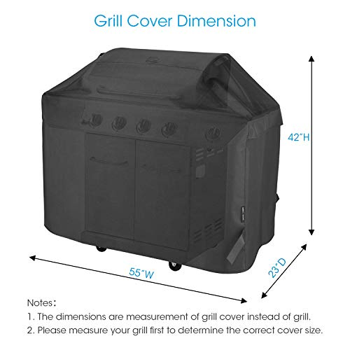Unicook Heavy Duty Waterproof Barbecue Gas Grill Cover 55 inch BBQ Cover Special Fade and UV Resistant Material Durable and Convenient Fits Weber Char Broil Nexgrill Brinkmann Grills and More 0 5