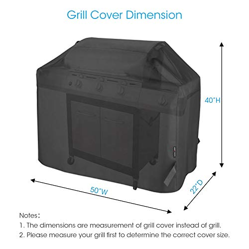Unicook Heavy Duty Waterproof Barbecue Gas Grill Cover Small 50 inch BBQ Cover Special Fade and UV Resistant Material Fits Grills of Weber Char Broil Nexgrill Brinkmann and More 50W x 22D x 40H 0 0