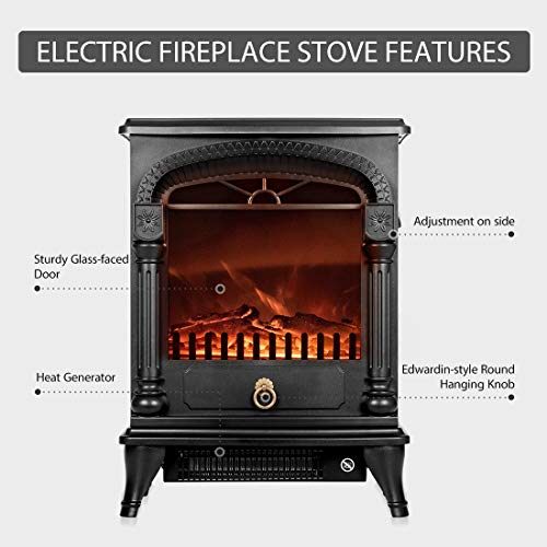 VIVOHOME 110V 20 Inch Portable Free Standing Electric Fireplace Insert Stove Heater with Realistic Log Flame Effect 0 0