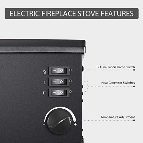 VIVOHOME 110V 20 Inch Portable Free Standing Electric Fireplace Insert Stove Heater with Realistic Log Flame Effect 0 1