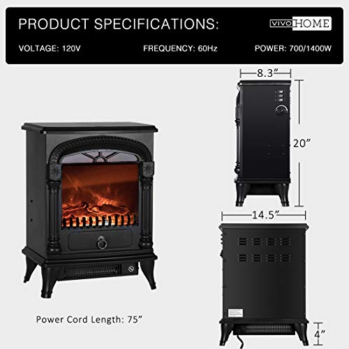 VIVOHOME 110V 20 Inch Portable Free Standing Electric Fireplace Insert Stove Heater with Realistic Log Flame Effect 0 4