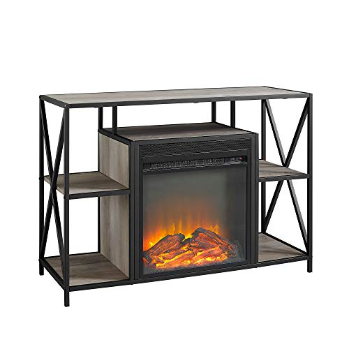 Walker Edison Furniture Company Industrial Farmhouse Metal X and Wood Universal Fireplace Stand with Open Shelves TVs up to 43 Flat Screen Living Room Storage Entertainment Center 40 Inch Grey 0 1