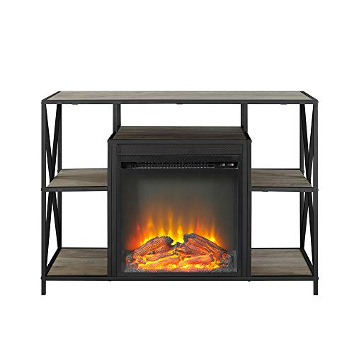 Walker Edison Furniture Company Industrial Farmhouse Metal X and Wood Universal Fireplace Stand with Open Shelves TVs up to 43 Flat Screen Living Room Storage Entertainment Center 40 Inch Grey 0 2