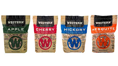 Western BBQ Smoking Wood Chips Variety Pack Bundle 4 Apple Mesquite Hickory and Cherry Flavors 0