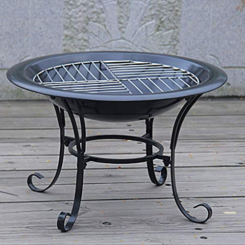 XLOO Outdoor Fire Pit Large Bonfire Wood Burning Patio Backyard FirepitOutdoor Patio Steel BBQ Grill Fire Pit Bowl wSpark Screen CoveLog Grate Poker for Backyard Camping Picnic 0 1