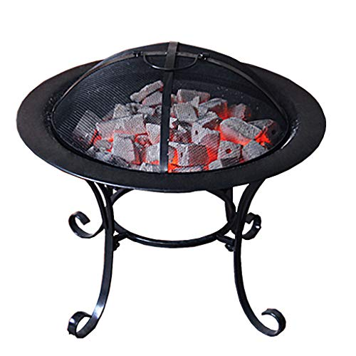 XLOO Outdoor Fire Pit Large Bonfire Wood Burning Patio Backyard FirepitOutdoor Patio Steel BBQ Grill Fire Pit Bowl wSpark Screen CoveLog Grate Poker for Backyard Camping Picnic 0