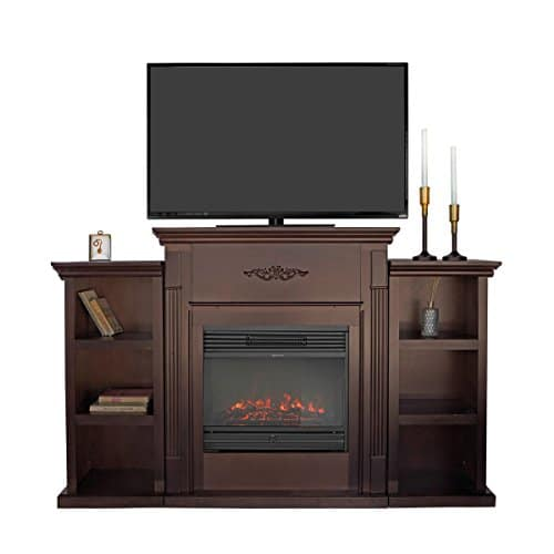 XtremepowerUS Barton 70 Media Freestanding Mantel TV Stand for Insert Fireplace with Bookcase Shelf Espresso Stand only 0 0