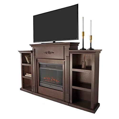XtremepowerUS Barton 70 Media Freestanding Mantel TV Stand for Insert Fireplace with Bookcase Shelf Espresso Stand only 0 2