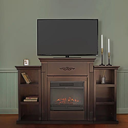 XtremepowerUS Barton 70 Media Freestanding Mantel TV Stand for Insert Fireplace with Bookcase Shelf Espresso Stand only 0 3