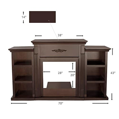 XtremepowerUS Barton 70 Media Freestanding Mantel TV Stand for Insert Fireplace with Bookcase Shelf Espresso Stand only 0 4