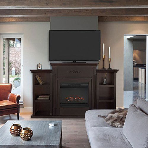 XtremepowerUS Barton 70 Media Freestanding Mantel TV Stand for Insert Fireplace with Bookcase Shelf Espresso Stand only 0