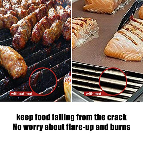YRYM HT Copper Grill Mat Set of 5 13x1575Grill Mats Non Stick BBQ Grill Baking Mats Reusable and Easy to Clean Works on Gas Charcoal Electric Grill 0 3