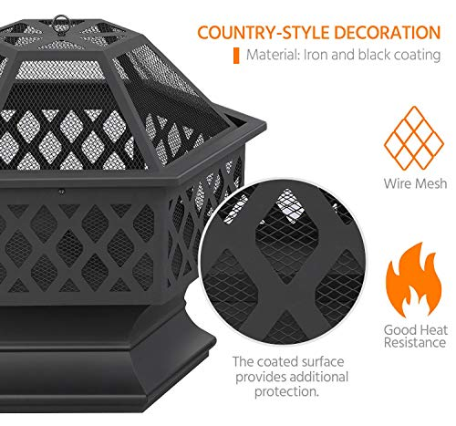 Yaheetech Hexagon Fire Pit Fireplace Portable Firepit Iron Brazier Wood Burning Coal Pit Hex Shaped Fire Bowl Stove with Spark Screen Cover for Outdoor Outside Camping Patio Garden Backyard 24in Black 0 0