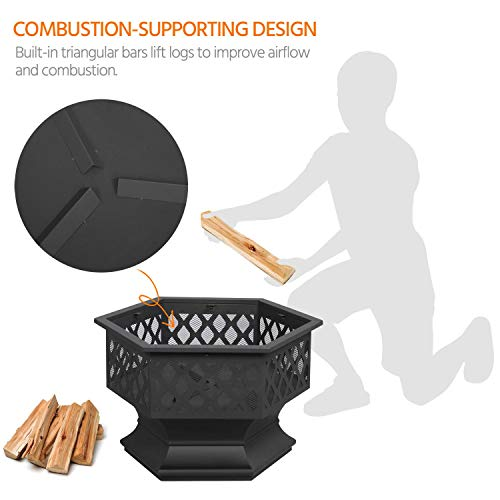 Yaheetech Hexagon Fire Pit Fireplace Portable Firepit Iron Brazier Wood Burning Coal Pit Hex Shaped Fire Bowl Stove with Spark Screen Cover for Outdoor Outside Camping Patio Garden Backyard 24in Black 0 1