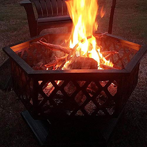 Yaheetech Hexagon Fire Pit Fireplace Portable Firepit Iron Brazier Wood Burning Coal Pit Hex Shaped Fire Bowl Stove with Spark Screen Cover for Outdoor Outside Camping Patio Garden Backyard 24in Black 0 2