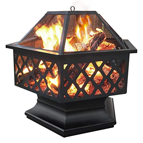 Yaheetech Hexagon Fire Pit Fireplace Portable Firepit Iron Brazier Wood Burning Coal Pit Hex Shaped Fire Bowl Stove with Spark Screen Cover for Outdoor Outside Camping Patio Garden Backyard 24in Black 0