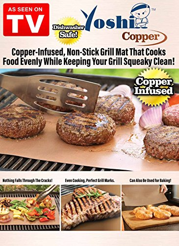 Yoshi Copper Grill Mats Heavy Duty Up to 500 Degree 2 grill Mats Reusable 0 1