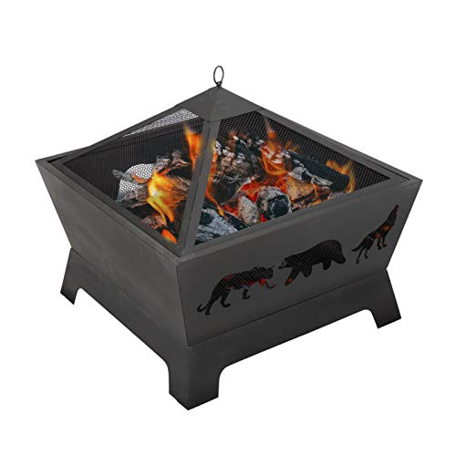 ZENY 26 inch Fire Pit Fire Bowl Outdoor Patio Wood Burning Fireplace Firepit with Cover PokerSteel 0