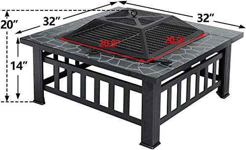 ZENY Outdoor 32 Metal Fire Pits BBQ Square Table Backyard Patio Garden Stove Wood Burning Fireplace with Spark Screen CoverPokerCoverGrill 0 0