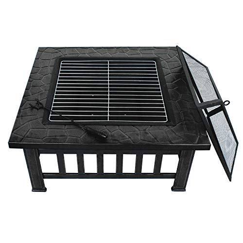 ZENY Outdoor 32 Metal Fire Pits BBQ Square Table Backyard Patio Garden Stove Wood Burning Fireplace with Spark Screen CoverPokerCoverGrill 0 1