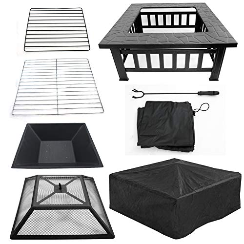 ZENY Outdoor 32 Metal Fire Pits BBQ Square Table Backyard Patio Garden Stove Wood Burning Fireplace with Spark Screen CoverPokerCoverGrill 0 3